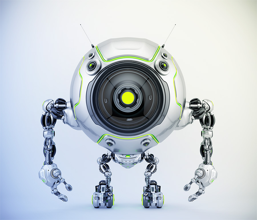 De-bot robotic creature with green illumination, 3d illustration