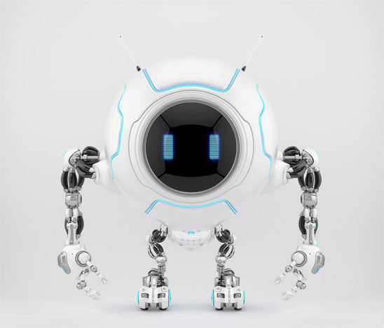 Smart white robotic creature de-bot, 3d illustration