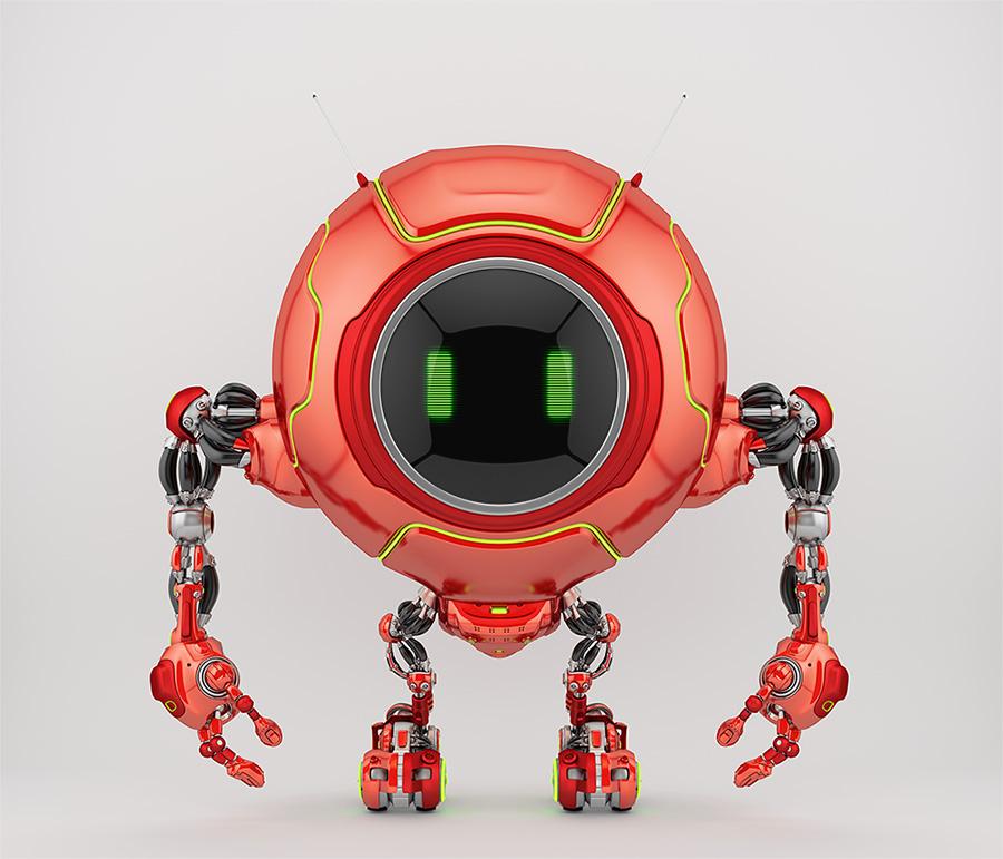 Smart red robotic creature de-bot, 3d illustration