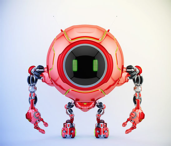 Smart red robotic creature de-bot, 3d illustration
