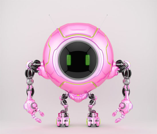 Smart pink robotic creature de-bot, 3d illustration