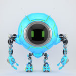Lovely blue robotic creature de-bot, 3d illustration