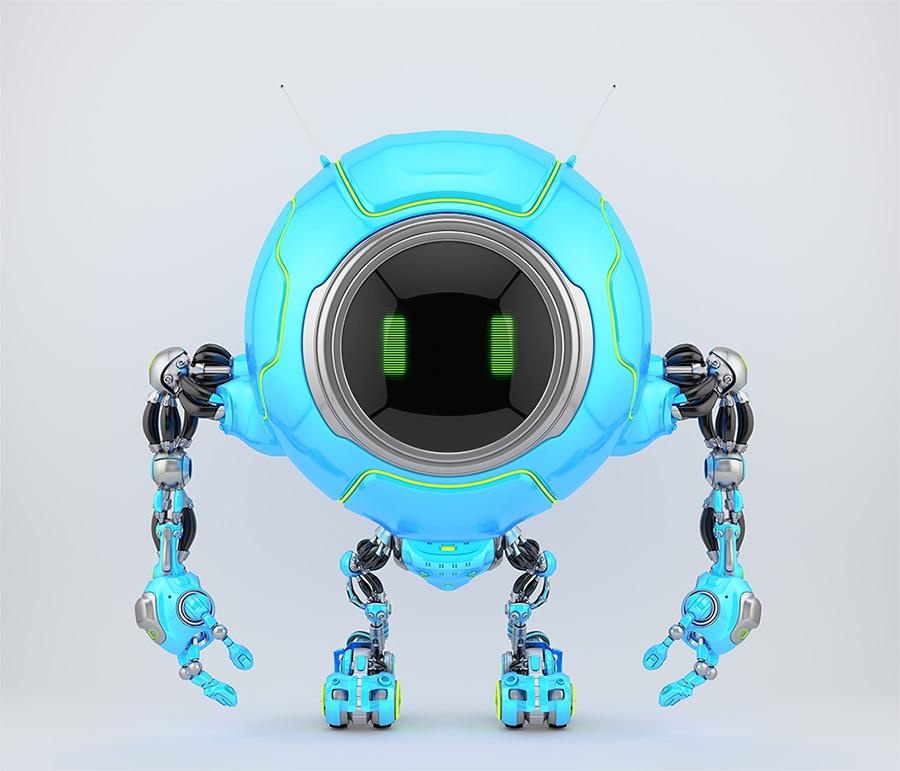 Lovely blue robotic creature de-bot, 3d illustration