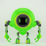 Lovely green robotic creature de-bot, 3d illustration