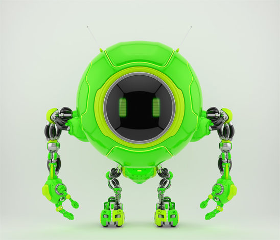 Lovely green robotic creature de-bot, 3d illustration