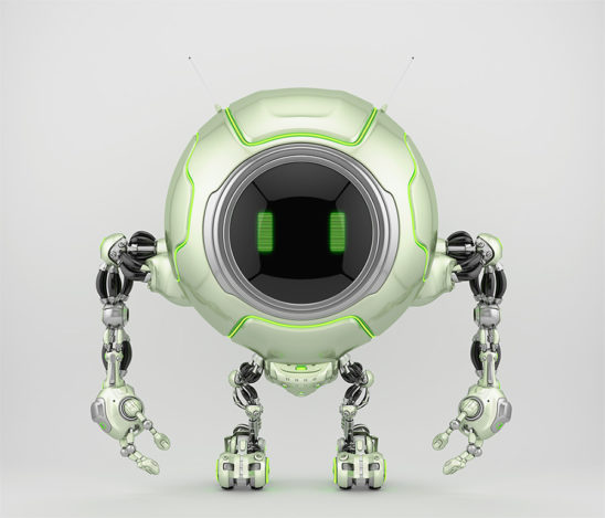 Pearl green robotic creature de-bot, 3d illustration