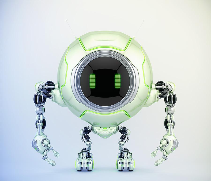 Pearl green robotic creature de-bot, 3d illustration
