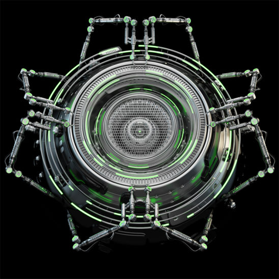 Futuristic robotic circle element with green illumination, 3d rendering