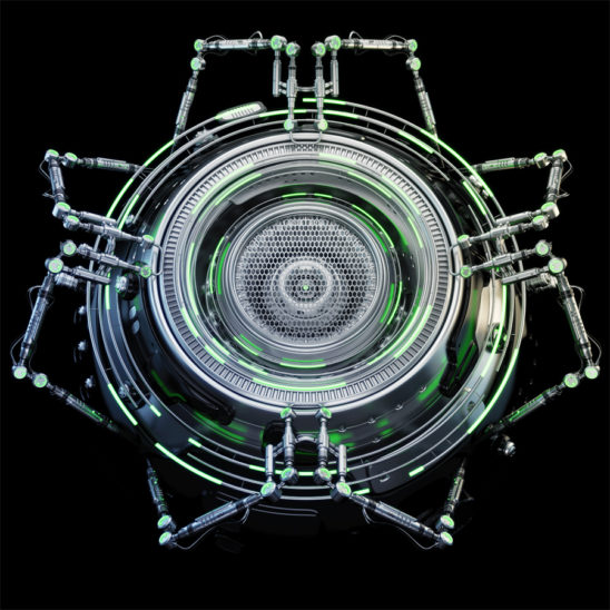 Futuristic robotic circle abstract element with green illumination, 3d rendering