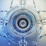 Winter white hi-tech abstract element, futuristic 3d illustration