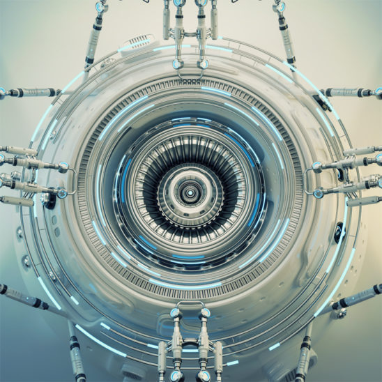 Winter white hi-tech abstract element, futuristic 3d illustration