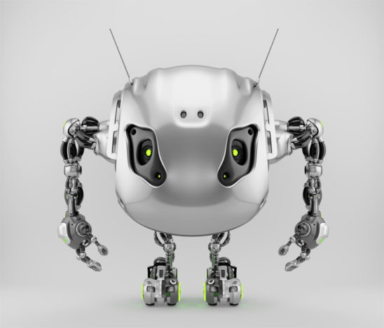 Silver bbot beetle robot with funny antennaes