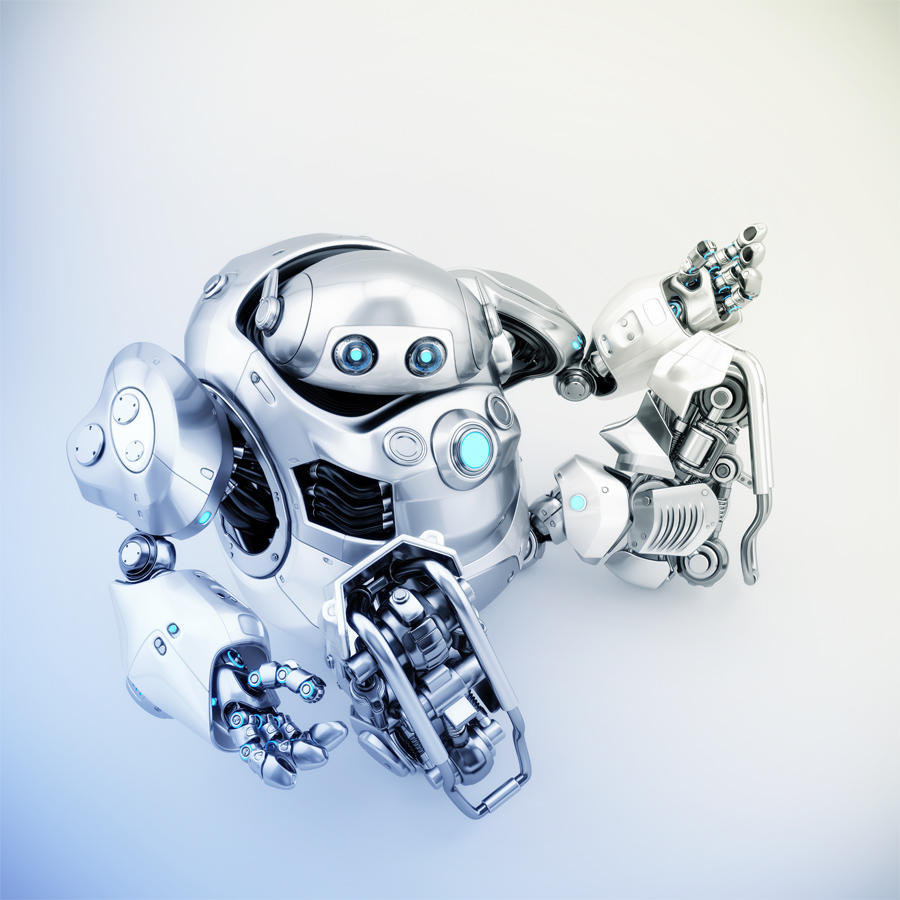 Sitting and gesturing cyber turtle, 3d rendering of robotic character