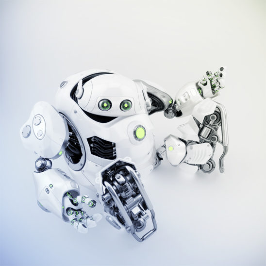 Sitting and gesturing white cyber turtle, 3d rendering of robotic character