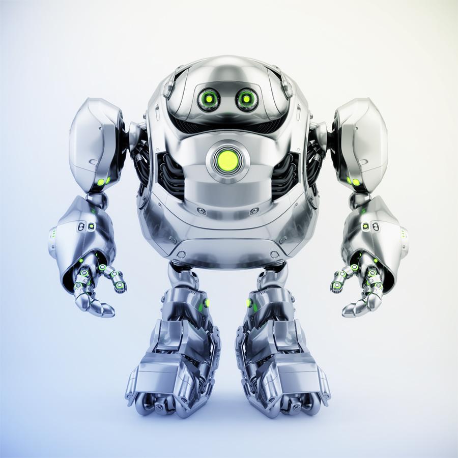 Massive robotics – huge metal cyber turtle, 3d front rendering