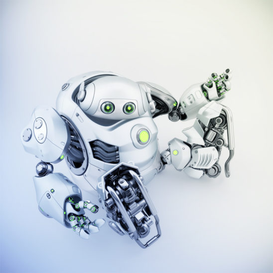 Sitting and gesturing matte silver cyber turtle, 3d rendering of robotic character