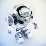 Silver-white robotic turtle in upper side view, scifi character 3d render