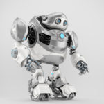 Silver-white robotic turtle in side view, scifi character 3d render