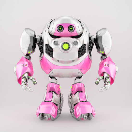 Girlish white-pink cyborg turtle