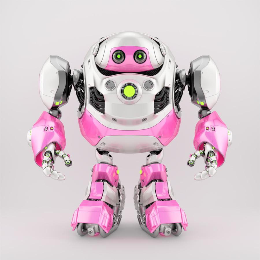 Girlish white-pink cyborg turtle