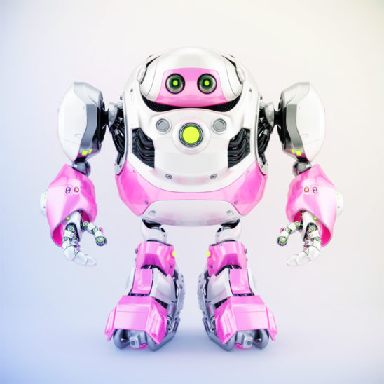 Girlish white-pink cyborg turtle, 3d render