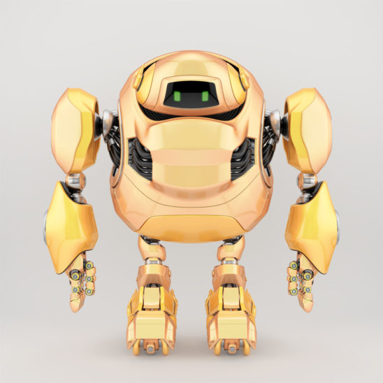 Powerful robotic turtle in bright yellow color, 3d render