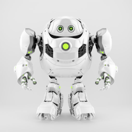 Bright white robotic turtle with huge body frame, 3d character rendering