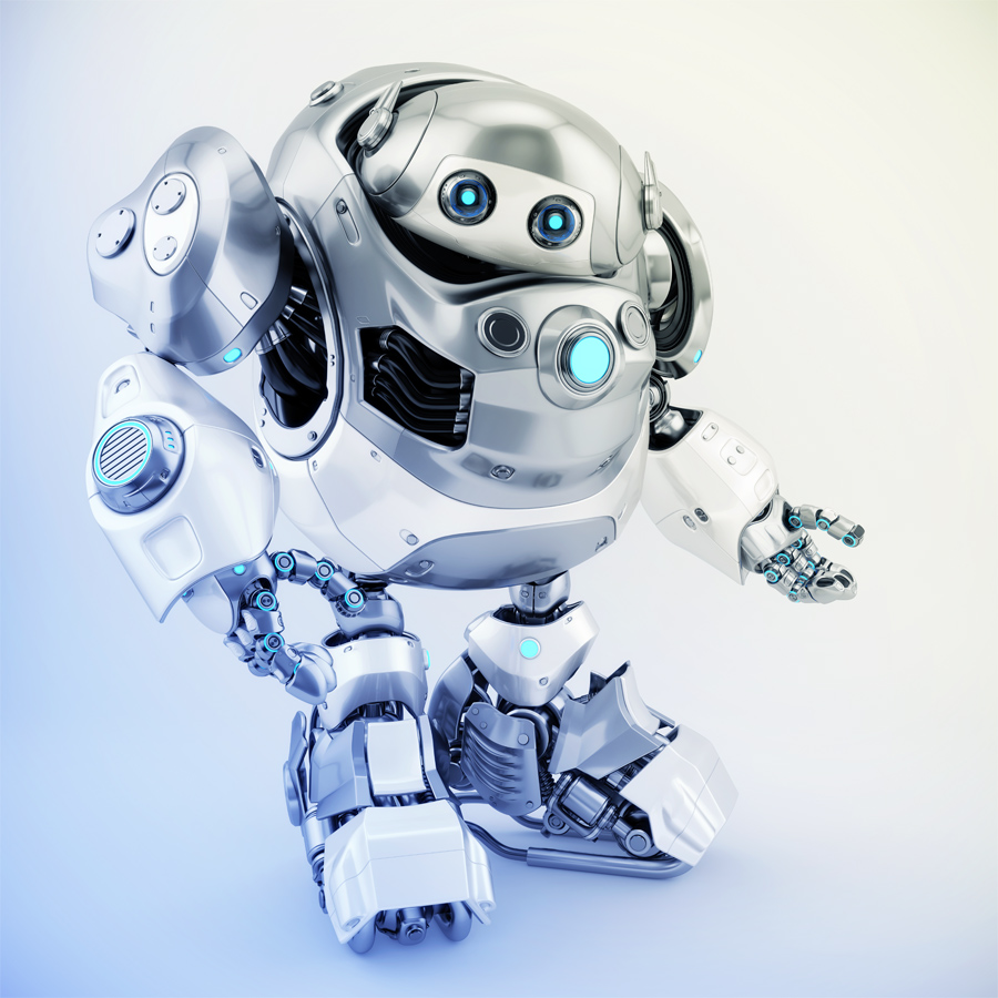 Silver-white robotic turtle in side view, gesturing scifi character. 3d render