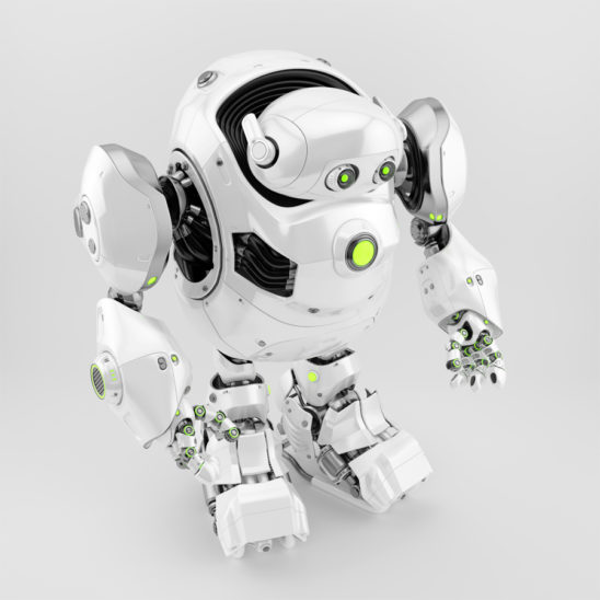 White robotic turtle in upper side view 3d render