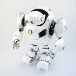 White robotic turtle in upper side view, scifi character 3d render