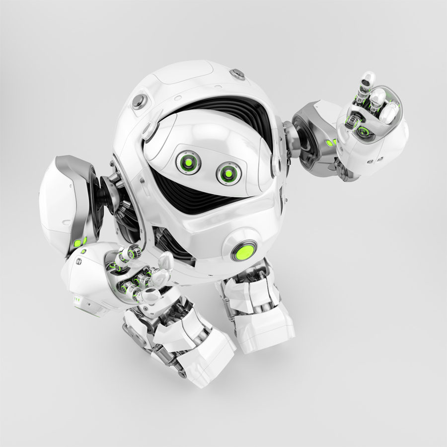Cool white cyber turtle gesturing in upper view, 3d rendering