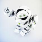 Cool white cyber turtle gesturing in upper view, 3d rendering