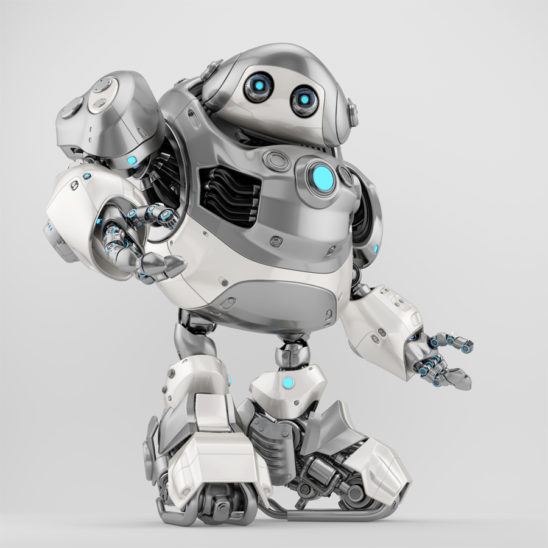 Questioning robotic turtle in silver-white colors, side view 3d render