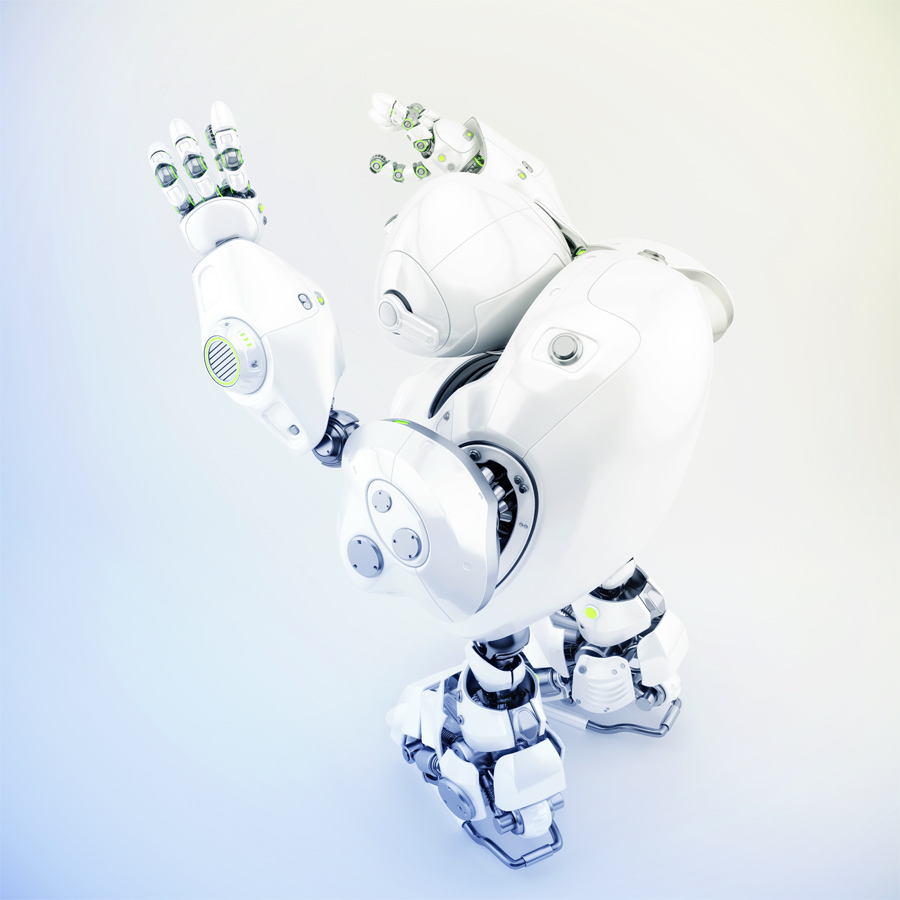 Robotic turtle with raised arms backwards, 3d render