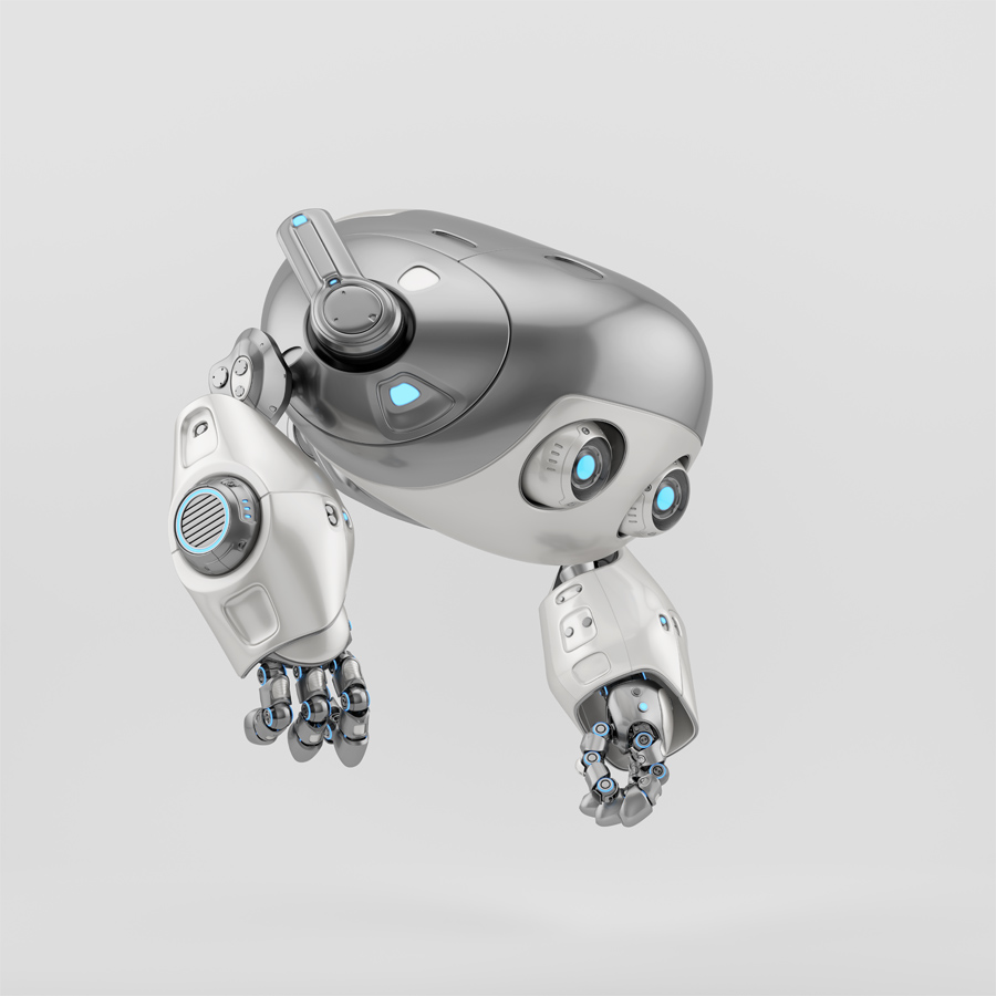 Flying silver aerial robotic turtle character in side 3d render
