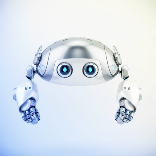 Flying silver aerial robotic turtle character with blue illumination, front 3d render