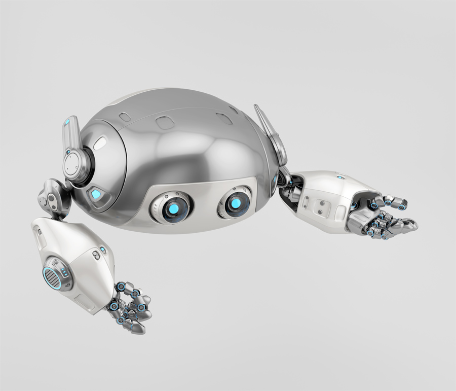 Flying silver aerial robotic turtle character with blue illumination, gesturing character 3d render