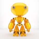 Unique toy - ant like robot in bright orange color, front pose 3d render