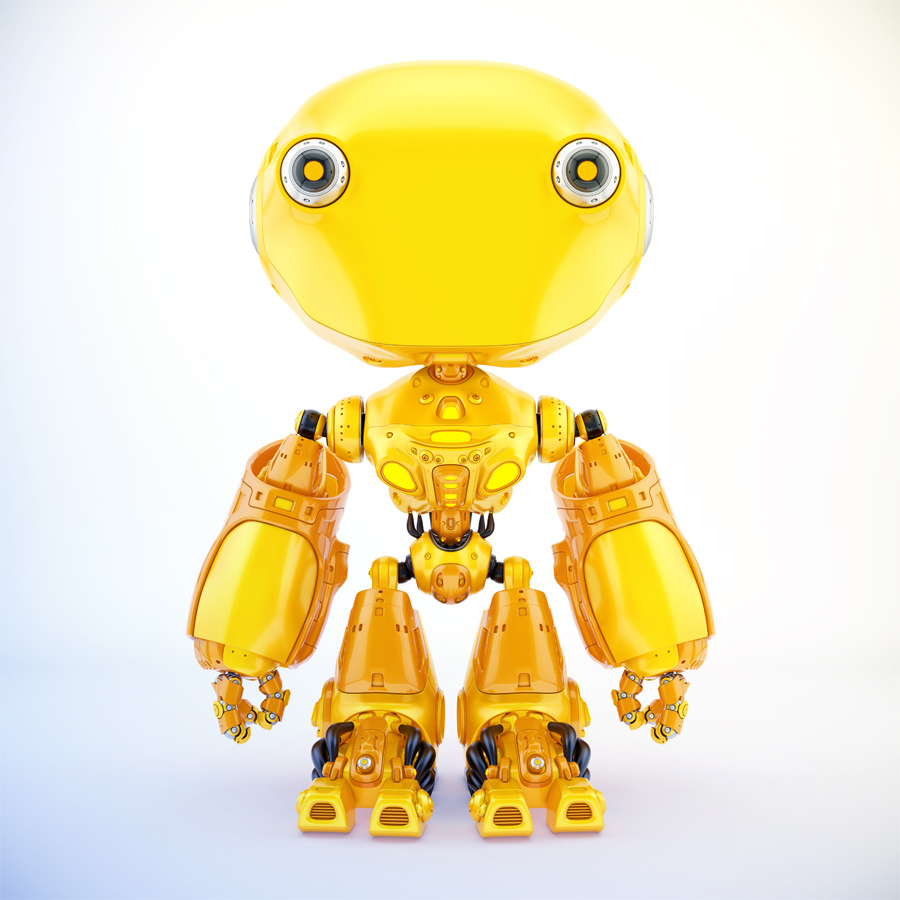 Unique toy - ant-like robot in bright orange color, front pose 3d render