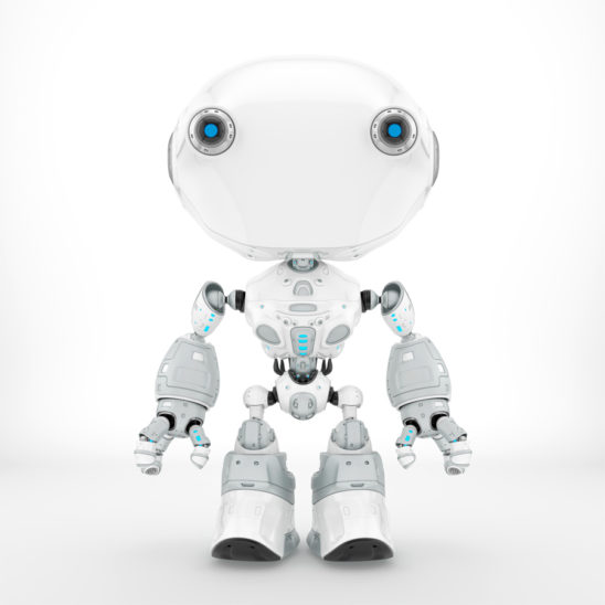Ant-like robot in clean white color, front pose 3d render