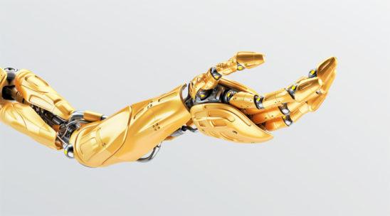 Juicy orange robotic arm in streched pose