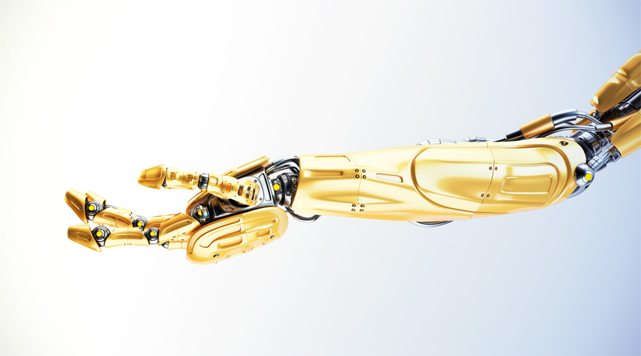Juicy orange robotic arm in streched pose, 3d rendering