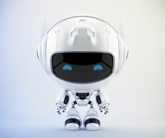 Cutan robot with & without reflection on digital screen. 3d robotic character rendering