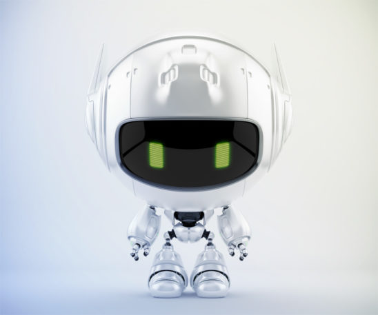 Pearl white cutan robot with green digital eyes. Downloadable file contains reflection layer that could be switched on/off