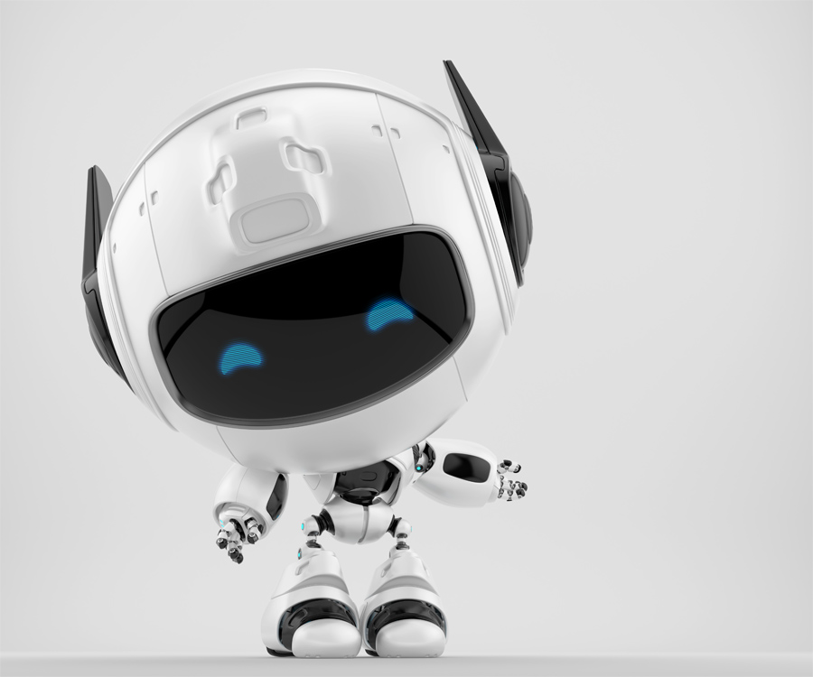 Gesturing cutan robot with funny doggy ears, 3d rendering