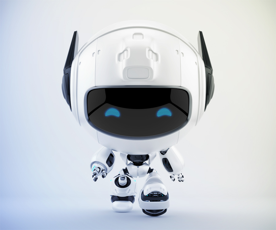 Walking white robotic cutan with doggy black ears, 3d character rendering
