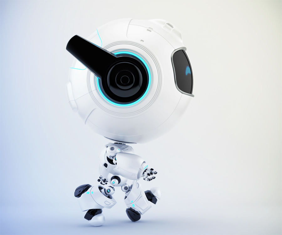 Smart cutan walking robot in side angle, 3d toy character rendering