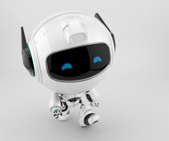 Smart cutan walking robot in side upper angle, 3d toy character rendering
