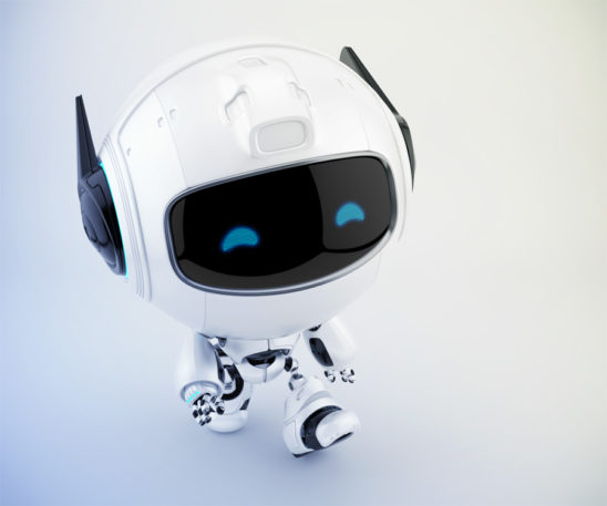 Smart cutan walking robot in upper angle, 3d toy character rendering
