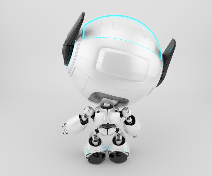 Smart cutan with raised arm backwards, 3d toy character rendering with turquoise illumination